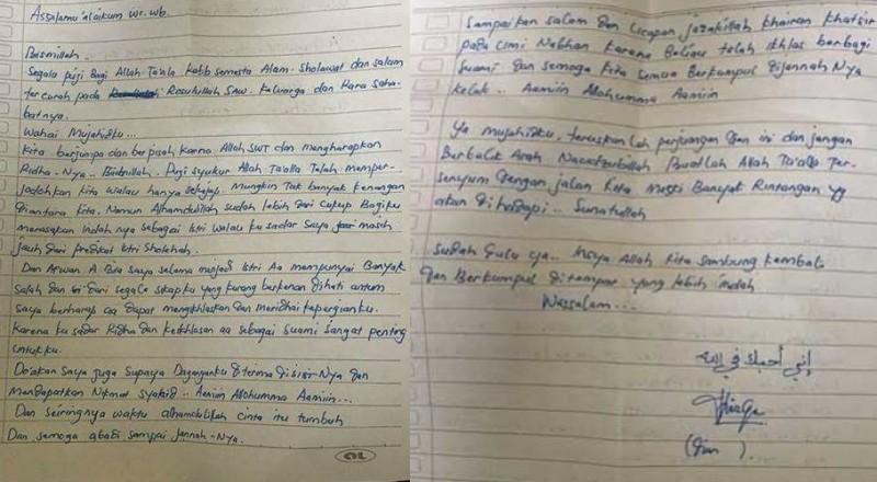 Surat wasit Dian Yulia Novi untuk suaminya