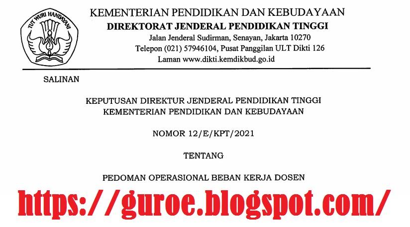 Download SK Dirjen Dikti Nomor: 12/E/KPT/2021 Tentang Pedoman Operasional Beban Kerja Dosen (PO BKD)