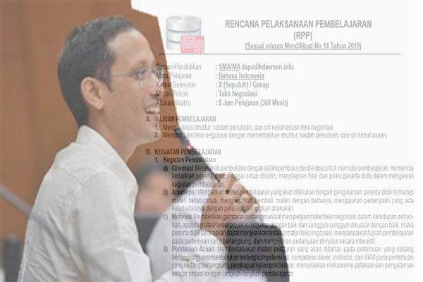 Contoh Format RPP (Rencana Pelaksanaan Pembelajaran) 1 Halaman (1 Lembar) Sesuai Surat Edaran (SE) Nomor 14 Tahun 2019