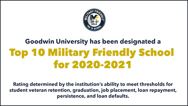 Goodwin University is a Top 10 Military Friendly School