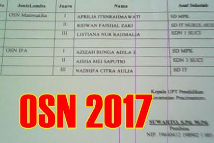 Hasil Lomba OSN SD/MI Kecamatan Pracimantoro Tahun 2017