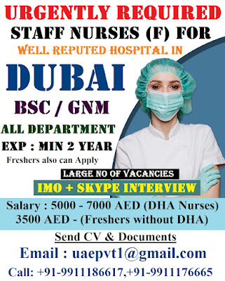 Urgently Required Staff Nurses (F) for a Well Reputed Hospital In Dubai