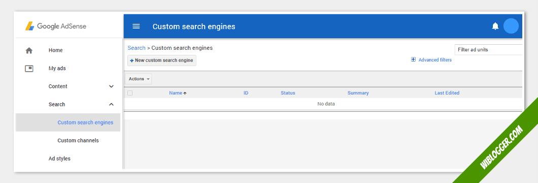 fungsi menu-menu adsense - adsense penelusuran