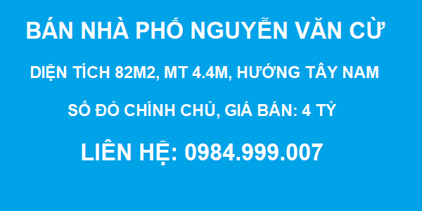 Bán nhà phố Nguyễn Văn Cừ, Gia Thụy, DT 82m2, MT 4.4m, SĐCC, 4 tỷ, 2020