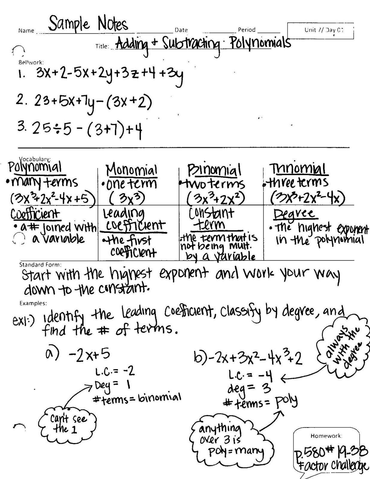 Algebra 1 Unit 7 Day 1 Adding Amp Subtracting Polynomials