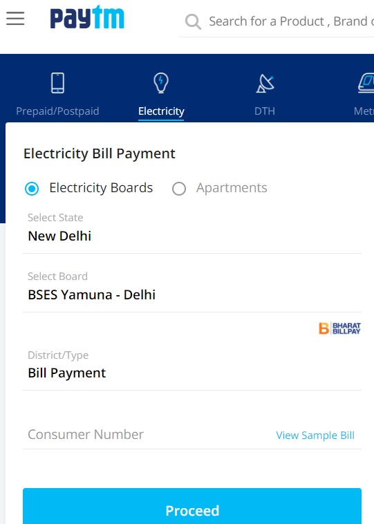 bses yamuna bill payment paytm