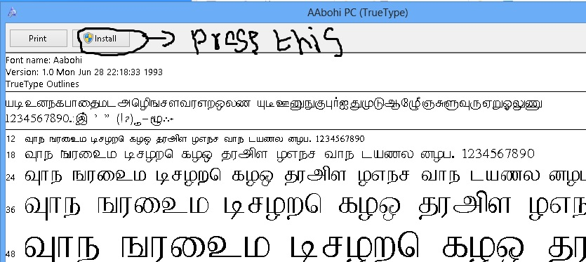 Latha Font Keyboard Layout