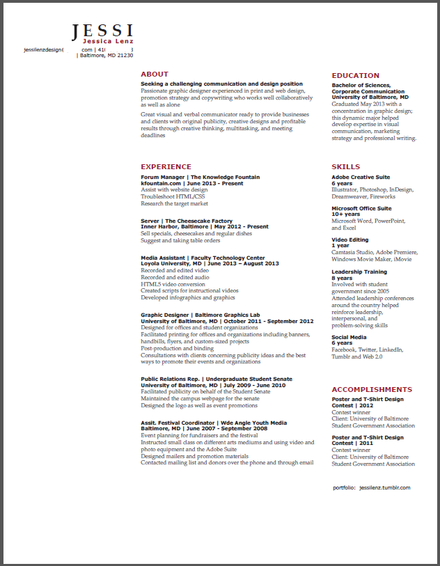 resume two column tech template