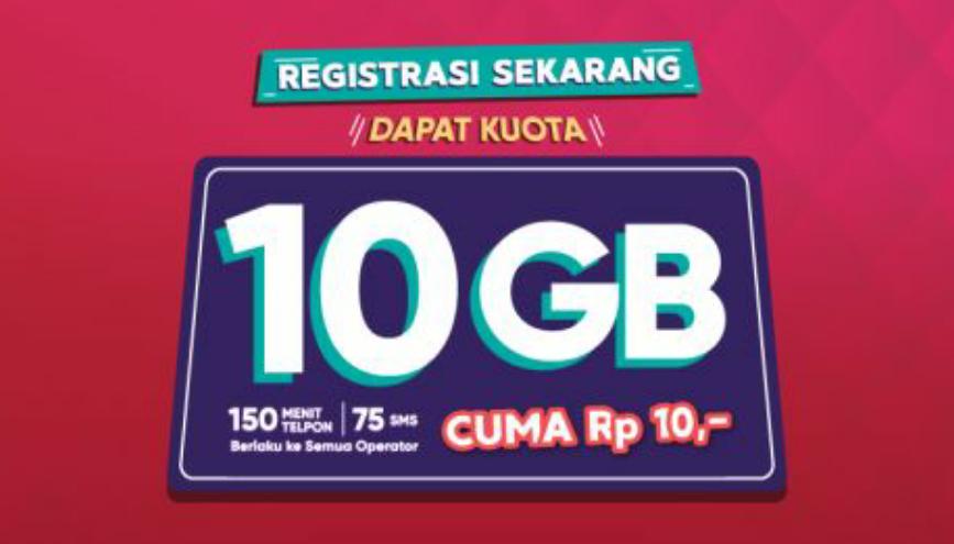 Registrasi Kartu Prabayar Bisa Dapat kuota internet 10GB Gratis