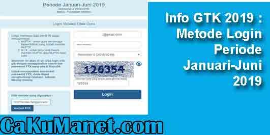 Info GTK 2019 : Metode Login Periode Januari-Juni 2019