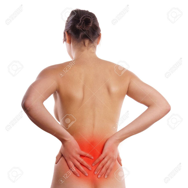 Female showing back pain