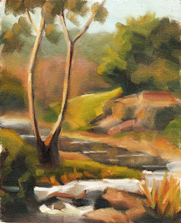 Oil painting of a eucalypt beside a creek with small rapids.