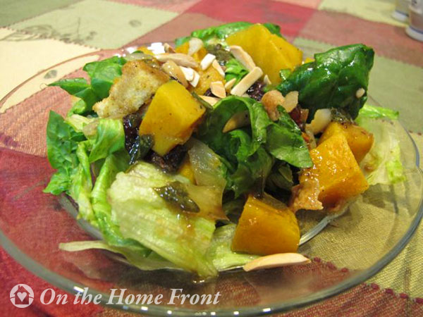 Winter salad with roasted butternut squash and spinach
