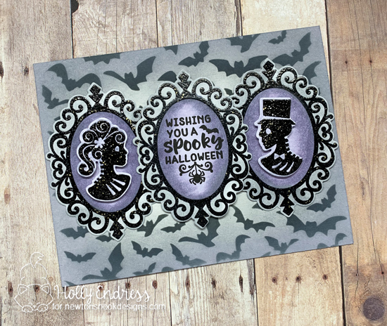 Wishing You a Spooky Halloween Card by Holly Endress | Cameo Frame Die Set by Newton's Nook Designs #newtonsnook #handmade