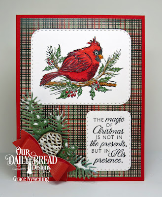 Our Daily Bread Designs Stamp Set: Winter Cardinal, Paper Collection: Christmas 2017, Custom Dies: Pine Branches, Lovely Leaves, Pinecones, Small Bow, Double Stitched Rounded Rectangles