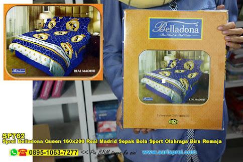 Sprei Belladona Queen 160x200 Real Madrid Sepak Bola Sport Olahraga Biru Remaja