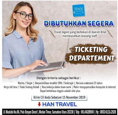 Lowongan Kerja SMA/SMK Bulan November 2019 Han Travel