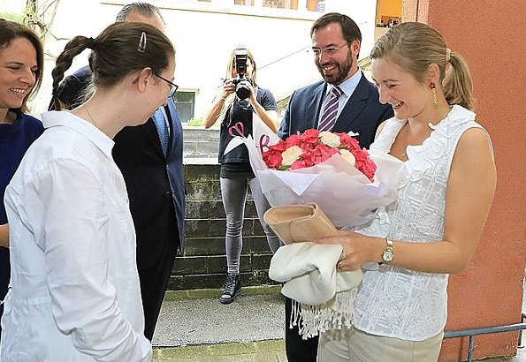 Hereditary Grand Duke Guillaume and Hereditary Grand Duchess Stéphanie of Luxembourg visited the Kräizbierg Foundation in Dudelange