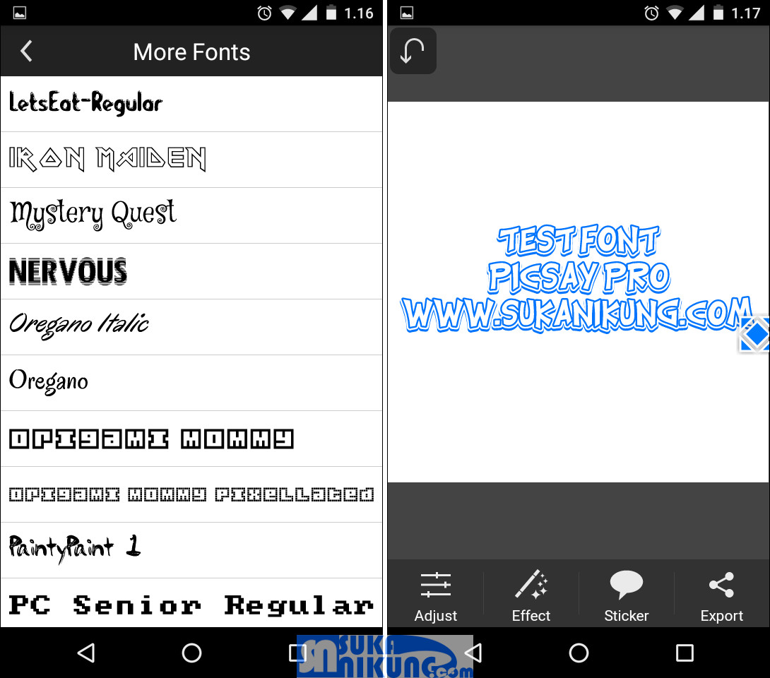 Cara memasang font tambahan untuk PicSay Photo Editor dan Pixrl Lab - tutorial Android, grafis, aplikasi, system, tips trik - www.sukanikung.com