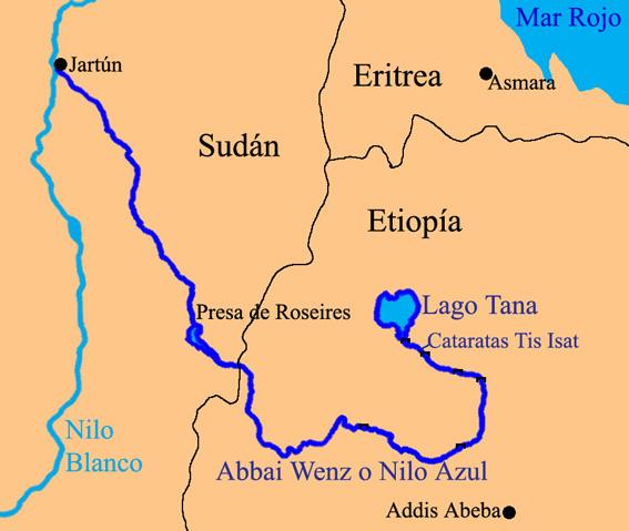 Kaart landen Hoorn van Afrika: Kaart Ethiopië en Addis Ababa, Blauwe Nijl, Hoorn van Afrika