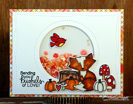 Inky Paws Challenge 37 - Plaid | Plaid fox thank you card by Larissa Heskett | Bushels of Love stamp set by Newton's Nook Designs