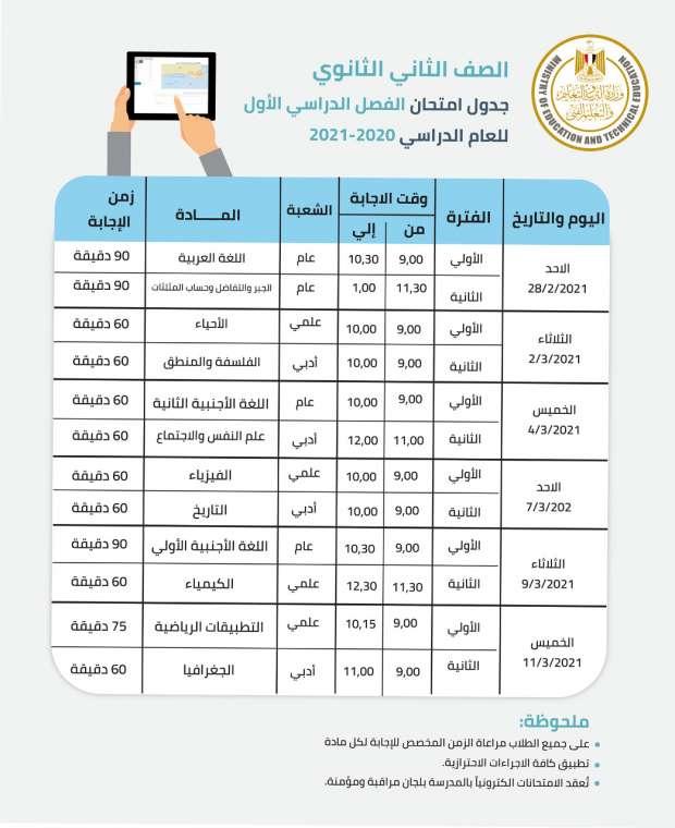 جدول امتحانات الصف الثاني الثانوي 2021