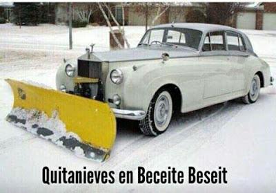 Quitanieves ,Beceite, Beseit ,Rolls Royce ,pala