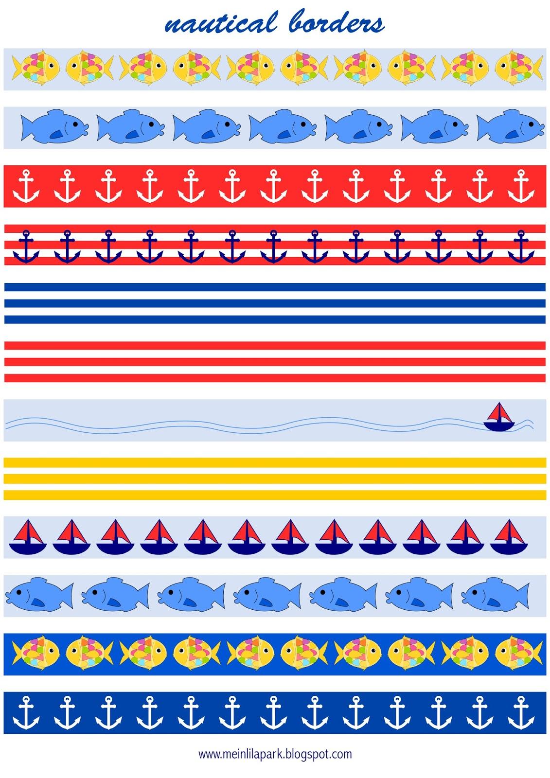 Free Printable Nautical Planner Stickers Borders