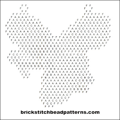 Click for a larger image of the Red Fairy Christmas brick stitch bead pattern word chart.