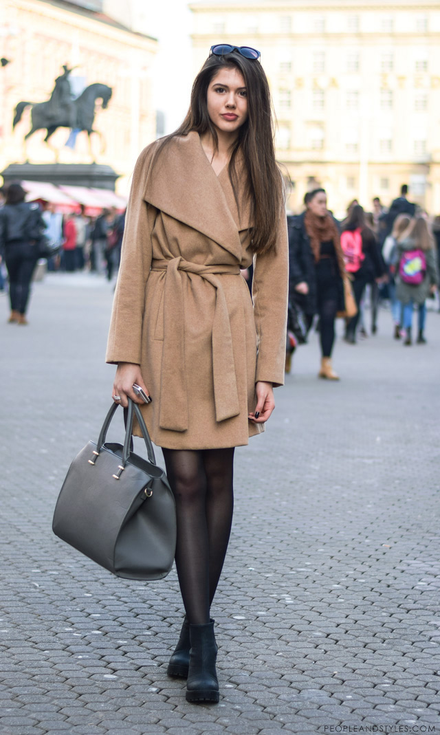 How to wear a camel coat and platform ankle boots, winter style fashion inspiration, street style by peopleandstyles.com