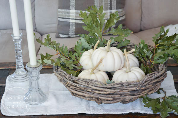 Simple coffee table arrangement of pumpkins