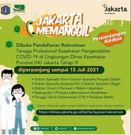 Rekruitment Tenaga Profesional Kesehatan Pengendalian COVID-19 di Lingkungan Dinas Provinsi DKI Jakarta Tahap III
