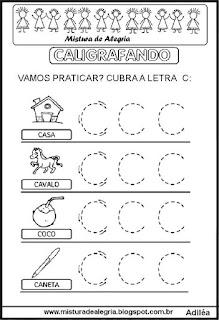 Caligrafando letra C pontilhada