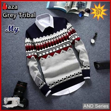 AND241 Sweater Pria Naza Grey Tribal BMGShop