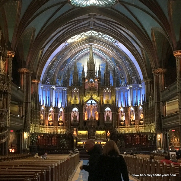 interior of Notre-Dame Basilica of Montreal in Vieux-Montréal, Canada