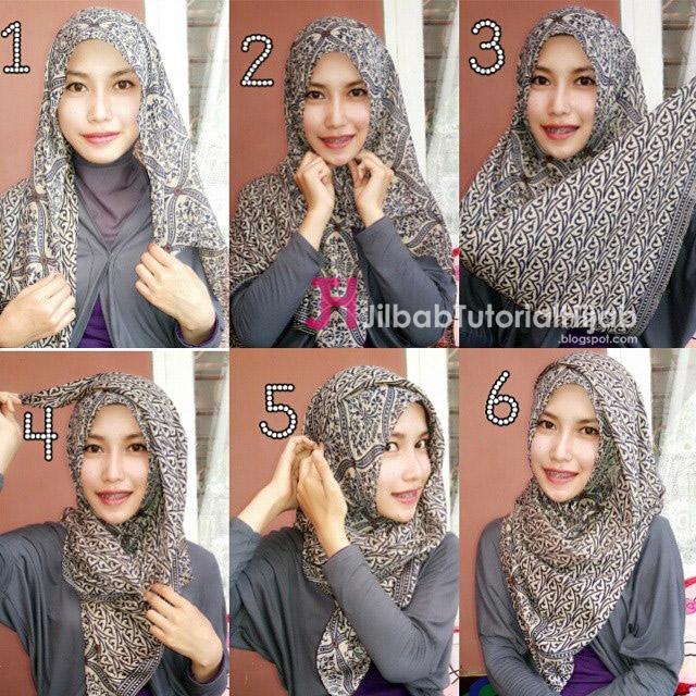 cara memakai hijab modern bermotif batik terbaru
