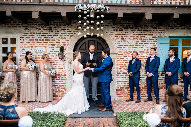 bride, groom and bridal party in ceremony at Casa Feliz in Winter Park, Florida