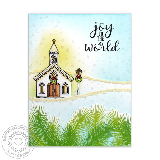 Sunny Studio Stamps: Christmas Chapel Joy To The World Snowy Church Card by Mendi Yoshikawa