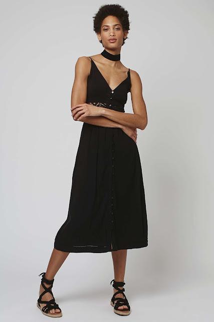 black buttoned midi strappy dress