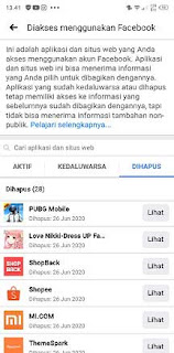 cara melihat aplikasi yang terhubung dengan facebook