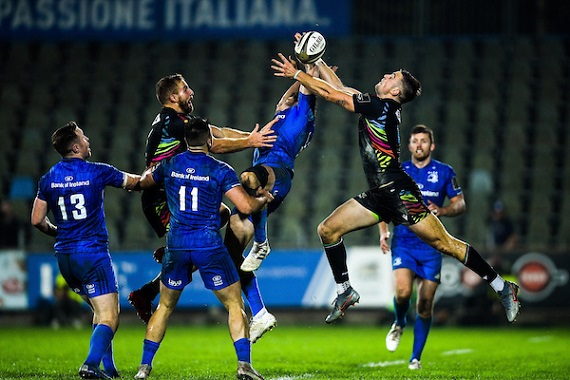 Hugo Keenan of Leinster in action against Edoardo Padovani of Zebre during the Guinness PRO14 Round 4 match between Zebre and Leinster