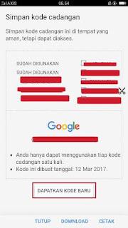 Cara mendapatkan kode cadangan verifikasi 2 langkah Gmail