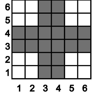 A simple draft with squares filled with either grey or white