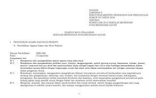 Berikut ini kami lampirkan sebuah file yang berisikan  Silabus PAI SMA Kurikulum 2013 Terbaru Semua Kelas