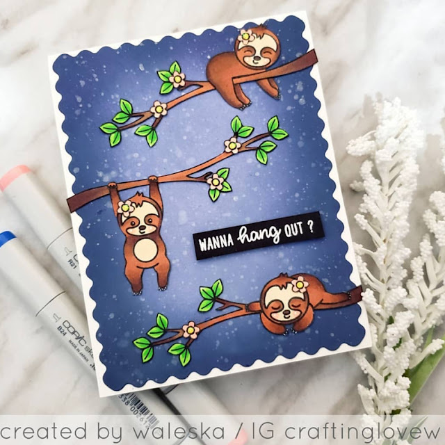 Sunny Studio Stamps: Silly Sloths Customer Card by Waleska