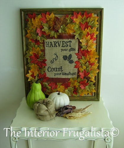 DIY Fall Burlap Sign with graphic and fabric leaves.