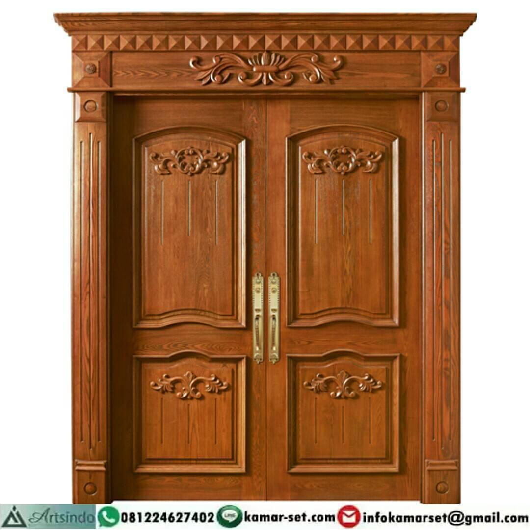 Model Pintu 2 Daun Yang Unik Pintu Rumah Warna Coklat ...
