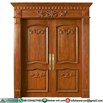 model pintu 2 daun yang unik pintu rumah warna coklat