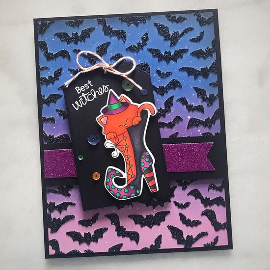 Best witches by Amy T. features Witchy Newton, Fancy Edges Tag, and Flying Bats by Newton's Nook Designs; #newtonsnook