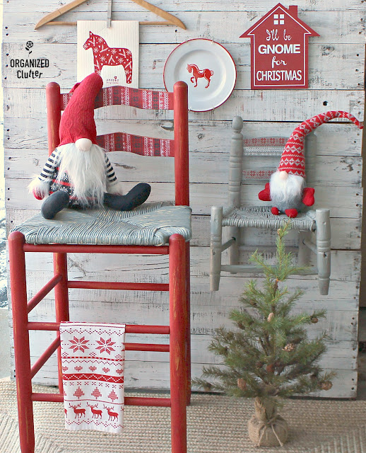 A Nordic Thrift Shop Stool Makeover and Nordic Themed Decor #stencil #gnomes #tomte #nisse #NordicChristmas #dalahorse #upcycle #thriftshopmakeover #milkpaint